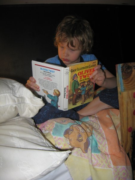 At seven, Jeremiah read many, many books.  These days, he prefers online reading, much of the time - research is easier that way. (Winter 2008).