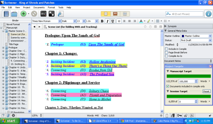 The opening scenes of my lovely, rainbowy scene list, with word count total.