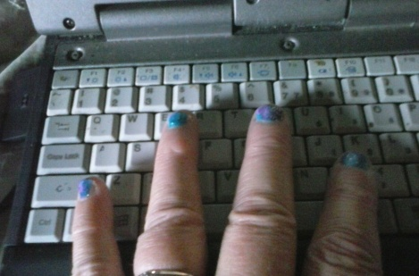 Pretty Manicures and Manuscripts nails on a makeshift but serviceable keyboard.