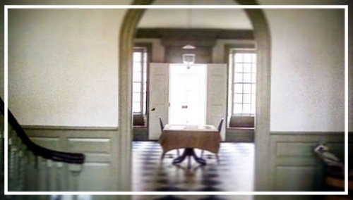 The entrance hall of the Schuyler Mansion, from the staircase landing, during my October visit with my daughter.