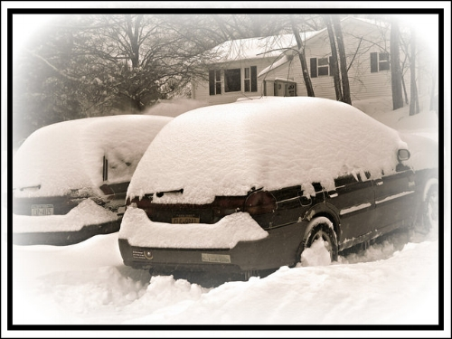 Subarus in the Snow, February, 2015...the last year we had a big snow year.