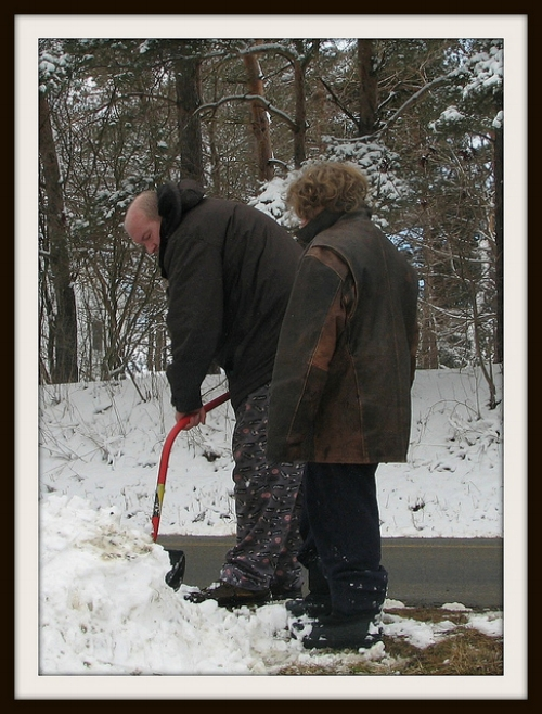 Jeremiah getting shoveling pointers from Dad in 2013 – now he's the taller one!