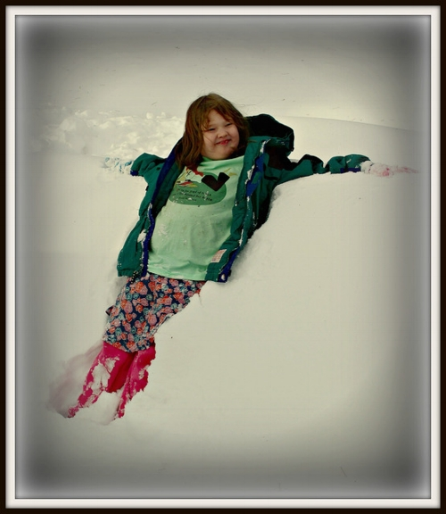 Our resident snow bunny – Lise at 9, Valentine's Day, 2014, after the blizzard.
