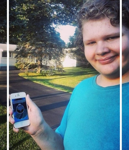 What's that teenager doing with his iPhone? Plotting terrorist activity? Cyber-bullying...? Nope, he's playing Pokemon GO! Three weeks after this photo was taken, he'd had enough, and moved on to other things.