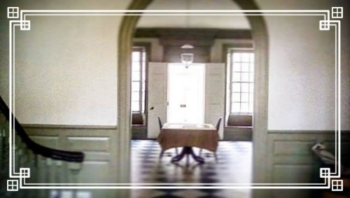 Schuyler Mansion State Historical Site, Albany, NY, October 2016 - looking from the landing through the arch and to the front door from the back of the house.