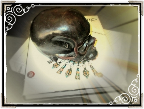 During a visit to Manhattan, I snapped this picture I knew Lise would love - a skull with fashionable earrings!