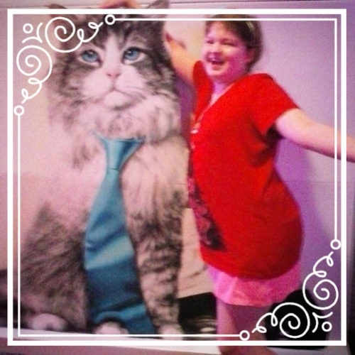 Twelfth Birthday, with a giant theater cat! July 2016.