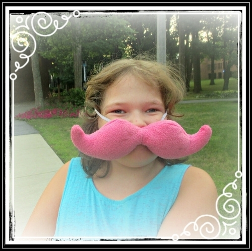 Incognito? Not so much! But sometimes you just want to wear a pink plushtache to an outdoor performance of A Midsummer Night's Dream! August 2014,Skidmore College, Saratoga Springs, NY; age 10.