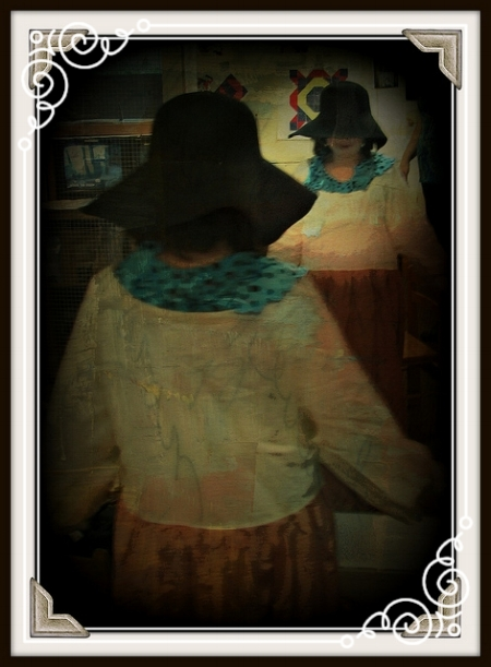 Lise at play - learning history and creating stories while dressing up at the Albany Institute of History and Art.